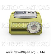 Retro Clipart of a Old Fashioned Vintage Greenish Yellow Radio with a Station Tuner, on a White Background by KJ Pargeter