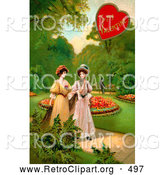 November 11th, 2013: Retro Clipart of a Old Fashioned Vintage Valentine of Two Ladies Strolling Through a Garden and Talking About a Man in the Background by OldPixels