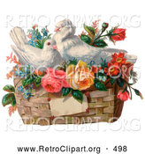 Retro Clipart of a Old Fashioned Vintage Valentine of Two White Doves Nesting in a Basket of Forget Me Nots and Roses, Circa 1890 by OldPixels