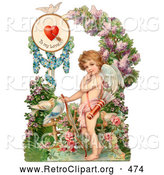 Retro Clipart of a Painting of a Vintage Valentine of Cupid Resting His Bow on the Ground in a Flower Garden Circa 1890 by OldPixels