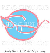 Retro Clipart of a Pair of Pink Girly Sunglasses over a Blue Circle by Andy Nortnik