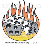 Retro Clipart of a Pair of Two White and Black Dice and Flames by Andy Nortnik
