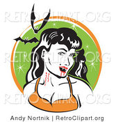 Retro Clipart of a Pale, Black Haired Smiling Female Vampire with Blood Dripping off of Her Fanges and onto Her Chin, Showing the Bite Marks on Her Neck While Two Bats Fly Above by Andy Nortnik