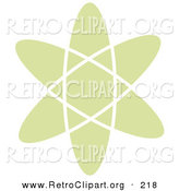 Retro Clipart of a Pale Green Atom over a Solid White Background by Andy Nortnik