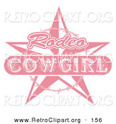 Retro Clipart of a Pale Pink Rodeo Cowgirl Sign with a Star and Barbed Wire over White by Andy Nortnik