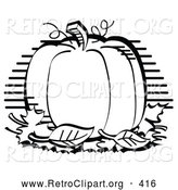 Retro Clipart of a Perfectly Round Halloween or Thanksgiving Pumpkin on Display, Surrounded by Fall Leaves by Andy Nortnik