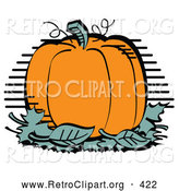 Retro Clipart of a Pile of Green Leaves and a Pumpkin by Andy Nortnik