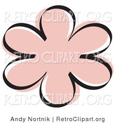 Retro Clipart of a Pink Flower Shape Outline by Andy Nortnik