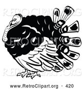 Retro Clipart of a Plump and Fat Turkey Bird with His Head Tucked in His Neck by Andy Nortnik