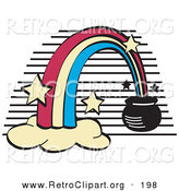Retro Clipart of a Pot of Gold at the End of a Rainbow on Black and White by Andy Nortnik