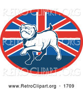 Retro Clipart of a Prancing Bulldog over a British Flag Oval by Patrimonio