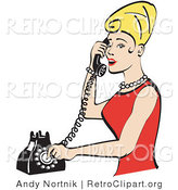 Retro Clipart of a Pretty Blond Housewife Woman with Tall Hair, Wearing Pearls and a Red Dress and Talking on a Rotary Dial Landline Telephone by Andy Nortnik