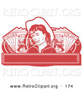 Retro Clipart of a Pretty Cowgirl in Red with a Mole, Wearing a Hat and Standing Between Hands of Playing Cards on a Red Banner by Andy Nortnik