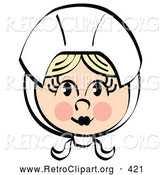Retro Clipart of a Pretty Female Pilgrim Character Blushing and Wearing a White Bonnet over Her Blond Hair by Andy Nortnik