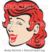 Retro Clipart of a Pretty Red Haired Woman Closing Her Eyes While Laughing by Andy Nortnik