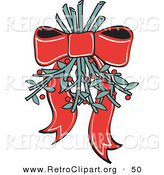Retro Clipart of a Pretty Red Ribbon Hanging Mistletoe Upside down for People to Kiss Under Retro by Andy Nortnik