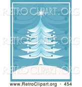 Retro Clipart of a Pretty Retro Christmas Tree with a Star on Top, on a White Hill with a Blue Branch Patterned Background by KJ Pargeter