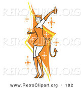 Retro Clipart of a Pretty White Woman in a Tight Orange Dress, Gloves and Tall Boots and Forked Devil Tail, Dancing While Drinking at a Halloween Party by Andy Nortnik