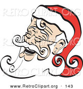 Retro Clipart of a Printable Laughing Santa Claus Clip Art by Andy Nortnik