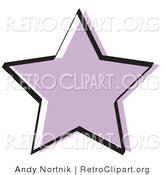 Retro Clipart of a Purple Star Shape on White by Andy Nortnik
