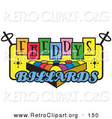 Retro Clipart of a Rack of Pool Balls on a Vintage Colorful Freddys Billiards Sign over White by Andy Nortnik