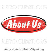 Retro Clipart of a Red About Us Internet Website Info Button by Andy Nortnik
