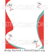 Retro Clipart of a Red and White Stationery Background with a Border of Retro Martinis by Andy Nortnik