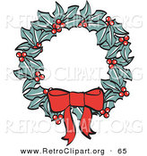 Retro Clipart of a Red Bow on a Christmas Wreath Made of Holly over White by Andy Nortnik
