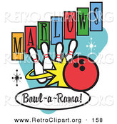 Retro Clipart of a Red Bowling Ball Rolling into Bowling Pins on a Vintage Marlows Bowl O Rama Sign by Andy Nortnik