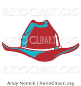 Retro Clipart of a Red Cowboy Hat Cast in Blue Lighting on White by Andy Nortnik