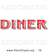 Retro Clipart of a Red Diner Sign on White by Andy Nortnik