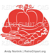 Retro Clipart of a Red Food Still Life of Beets or Radishes, a Carrot, Eggplant, Tomatoes and a Pumpkin by Andy Nortnik