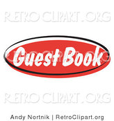 Retro Clipart of a Red Guest Book Internet Blog Website Button by Andy Nortnik