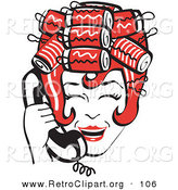 Retro Clipart of a Red Haired Happy Housewife with Her Hair up in Curlers, Laughing While Talking on a Landline Telephone by Andy Nortnik