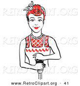 Retro Clipart of a Red Haired Housewife or Maid Woman Grinding Fresh Pepper While Cooking Food by Andy Nortnik