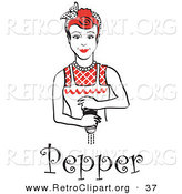 Retro Clipart of a Red Haired Housewife or Maid Woman Grinding Fresh Pepper While Cooking, with Text Underneath by Andy Nortnik