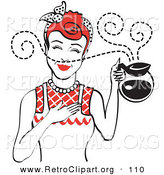 Retro Clipart of a Red Haired Waitress Woman Smelling the Wonderful Aroma of Fresh, Hot Coffee While Holding a Coffee Pot by Andy Nortnik