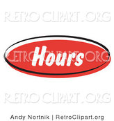 Retro Clipart of a Red Hours Internet Website Icon Button by Andy Nortnik