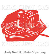 Retro Clipart of a Red Icon of a Knife Resting on a Cutting Board near Sliced Bread by Andy Nortnik
