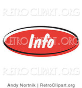 Retro Clipart of a Red Info Internet Website Blog Button by Andy Nortnik