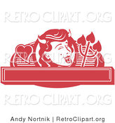 Retro Clipart of a Red Pretty Shedevil with a Mole and Horns over a Blank Banner by Andy Nortnik
