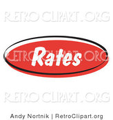 Retro Clipart of a Red Rates Internet Blog Button by Andy Nortnik