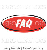 Retro Clipart of a Red Retro FAQ Internet Website Button by Andy Nortnik