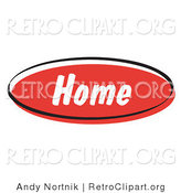 Retro Clipart of a Red Retro Home Internet Website Icon by Andy Nortnik