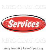 Retro Clipart of a Red Services Internet Website Button Icon by Andy Nortnik