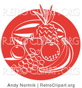 Retro Clipart of a Red Silhouette of Fruit Still Life with a Watermelon, Pineapple, Apple, Orange, Lemon, Grapes and Banana Clipart Illustration by Andy Nortnik
