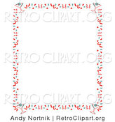 Retro Clipart of a Red Stationery Background of with a Border of Confetti and Martinis by Andy Nortnik