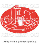 Retro Clipart of a Red Still Life of Food Including Eggs, Apple, Carton of Milk, Glass of Milk, Sliced Bread, and a Carrot by Andy Nortnik