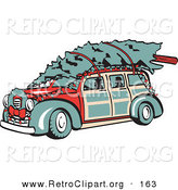 Retro Clipart of a Red Woodie Car Carrying a Christmas Tree on the Roof, Decorated in Christmas Lights and a Wreath and Driving Left by Andy Nortnik