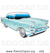 June 22nd, 2013: Retro Clipart of a Restored Blue 1957 Chevy Bel Air Car with a White Roof and Chrome Detailing by Andy Nortnik